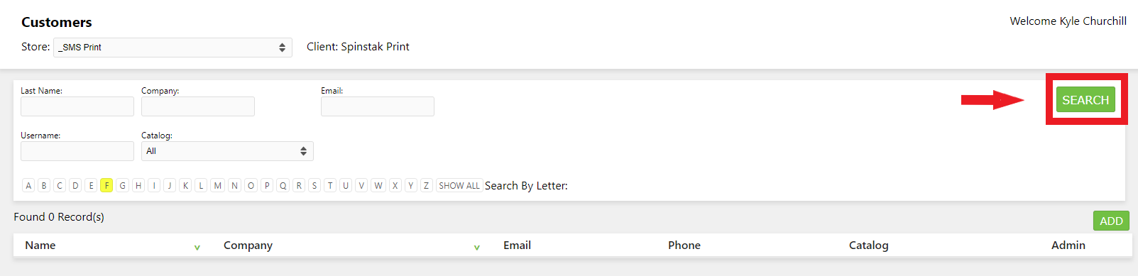 Spinstak eCommerce Customer Search
